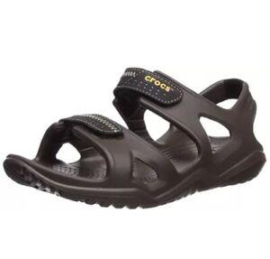 Crocs Swiftwater River Men's Open Toe Adjustable Strap Sandals- Brown-Size 11 UK