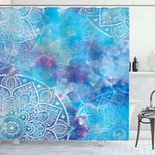 Artistic Paisley Floral Embroidery Batik Print Shower Curtain Extra Long 84 Inch