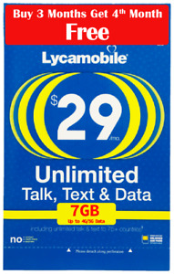 Lycamobile Preloaded  $29 Plan  3 + 1 Bonus month Free (4 Months 7GB Per Month)