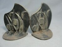 "Antique RARE 1930 Cast Iron Art Deco Bookends ""Wind in the Willows"" #594 Listed"