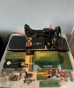 1952 SINGER FEATHERWEIGHT SEWING MACHINE 221 FULLY LOADED MINT CONDITION VINTAGE
