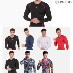 ARMEDES Mens Skin Tight Compression Baselayer Activewear Long Sleeve Shirt R141