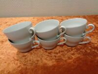6 x Porcelain Coffee Cup/Cup - White - Vintage
