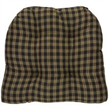 "Park Designs Chair Pad ""Sturbridge Black"" Tan & Black Plaid Cushion"