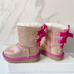 UGG Australia Mini Bailey Bow Shimmer II Girls Boots Bow Tan Glitter Pink US 6