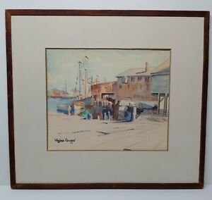 1930s Virginia Gruppe Painting Fishing Boats Wharf Dock a Gloucester Watercolor