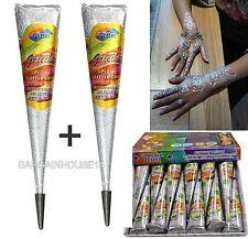IMPORTED SILVER GLITTER Sparkly Body Art Glitter Gel Cone/ Henna Tattoo Decorate