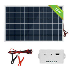10W Solar panel Kit & 3A Controller & Battery Clip for Cars Boat, Marine Tractor