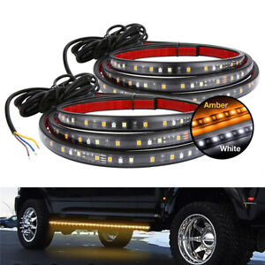Car Door LED Light Bar Welcome Light Turn Signal Side Kick Sticker White + Amber