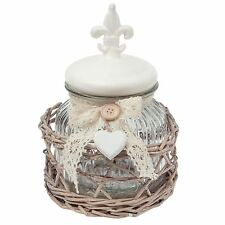FLEUR DE LIS CLEAR GLASS JAR WITH WICKER BACKET CREAM BEIGE