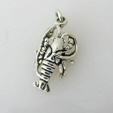 .925 Sterling Silver 3-D LOBSTER CHARM NEW Pendant Maine Atlantic 925 NT62