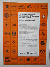 5/1973 PUB GENERAL ELECTRIC CF6 ENGINE 27 AIRLINES ZAIRE SAS VARIG ORIGINAL AD