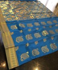 Bridal Kanchipuram Indian Silk Poly Cotton Saree Bollywood Blue Gold Sari #53