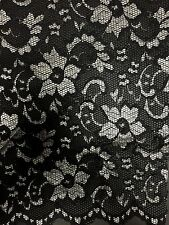 Lace Scalloped Floral Stretch Lycra Fabric- Black/Silver Q615 BKSLV