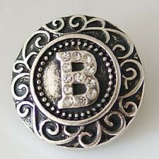 Initial Magnolia Vine Jewelry 18mm Button Fits Ginger Snap Ginger Snaps Letter B