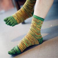 Sale Men's Casual Five Fingers Toe Socks Breathable Retro Color Socks AY HO
