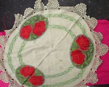 Antique Linen Hand Embroidered Crochet Lace Arts & Crafts Round Table Cloth