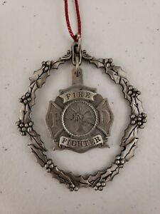 "Firefighter FD 3"" Metal Christmas Wreath Ornament Fireman Fire Dept Department"