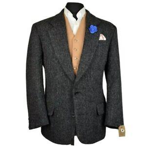 Harris Tweed Tailored Black Country Blazer Jacket 42S #945 STUNNING GARMENT