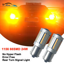 1156 High Power No Hyper Flash Canbus Error Free Amber LED Turn Signal Lights