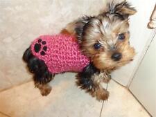 BLUE sweater XXXS micro puppy dog YORKIE maltese chihuahua knit paw tiny