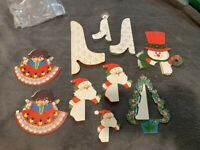 VINTAGE HALLMARK DIE CUT OUT CHRISTMAS DECORATIONS HONEYCOMB SANTA BELLS TREE