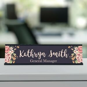 Personalized Custom Desk Name Plate Floral Pretty Roses 29 Font Styles Aluminum