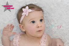 Princess-Dreams Baby Haarband Stirnband Mädchen Blume rosa Fotoshooting Taufe