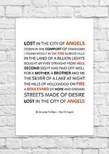 30 Seconds to Mars - City of Angels - Song Lyric Art Poster - A4 Size