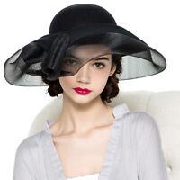 Black Womens Wide Brim Wool Felt Ascot Derby Church Dress Hat Retro Style T172
