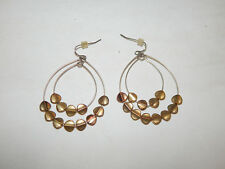 ANTHROPOLOGIE EARRINGS DANGLE DOUBLE HOOPS ADORNMENTS SLIDE GOLD TONE HOOK #618