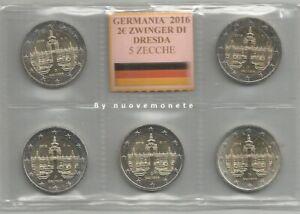 GERMANIA  ALLEMAGNE 2016 2 euro SACHSEN - DRESDA 5 Zecche A,D,F,G,J UNC