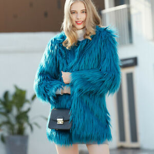 Winter Womens Furry Faux Fur Coat Waistcoat Jacket Overcoat Warm Parka Trench UK