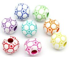 50 COLOURFUL BEAUTIFUL FOOTBALL BEADS 12MM ROUND BEADS + FAST FREE SHIPPING