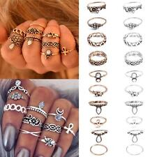 10Pcs/set Vintage Silver Plated Carved Crystal Moon Midi Knuckle Ring Jewelry