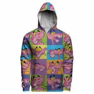 Lovely Pink Panther Photos Grid Cartoon Holiday Gift 3D Pocket Pullover Hoodie