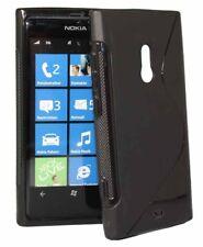Funda de onda de goma para Nokia 800 Lumia en negro Funda silicona Black silicona