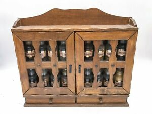 VINTAGE WOODEN HERB SPICE CABINET . COMPLETE WITH ORIGINAL JARS