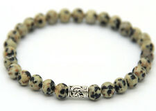 Men's 6mm Natural Dalmation Jasper Gemstone Tube Round Loose Beads Bracelet 7.5""