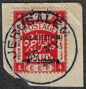 PALESTINE 1921 FIRST JERUSALEM OVPT 4 MILS W/ B ERROR IN PALESTINE SG 19d TIED
