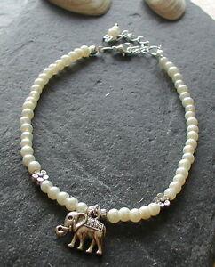 Ivory Pearl Glass Beads Elephant Charm Anklet Ankle Bracelet Handmade