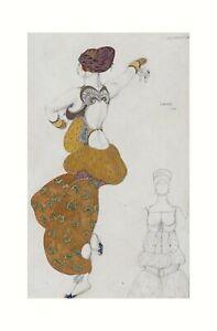 "Leon Bakst - Costume Design Odalisque in ""Sheherazade"" 1910 Print 61x91.5cm"