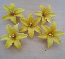 "Five Pc. Lot 3.5 "" Canary Lily Silk Flower Hair Clips,Wedding, Prom, Dance, Luau"