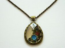 Retro Antique Bronze Teardrop Shaped Flowers Crystal Necklaces Chains N74