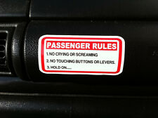 FUNNY PASSENGER RULES STICKER  CAR 4X4 VAN 4WD OFFROAD QUAD  BOAT JETSKI VISOR