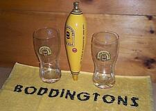 BODDINGTONS PUB ALE TAP HANDLE 2 SIGNATURE BEER PUB GLASSES & BAR TOWEL SET NEW