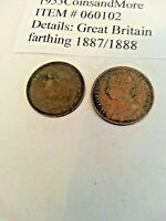 Great Britain u k 1887 1888 farthing. 060102