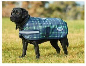 """Weatherbeeta Parka 1200D Dog Coat, Navy/Lime Plaid, Size - 14"""""""