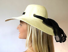 Campbell Cooper Hot Summer Sun Fashion Wide Brim Floppy Hat Natural Black Bow