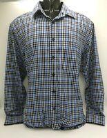 R.M WILLIAMS Mens White & Blue Check Shirt  ~ REGULAR FIT ~ Size S